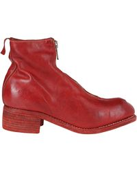 Guidi Pl1 Front Zip Ankle Boots - Red