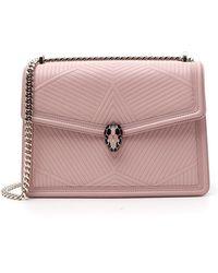 BVLGARI Serpenti Diamond Blast Shoulder Bag - Pink