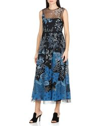 RED Valentino Redvalentino Embroidered Flared Dress - Blue
