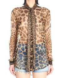 46a183762012a1 Lyst - Saint Laurent Cherry-Print Silk Blouse in Red