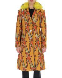 Versace Fur Trim Monogram Coat - Multicolor