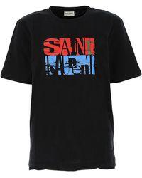 Saint Laurent Logo Printed T-shirt - Black