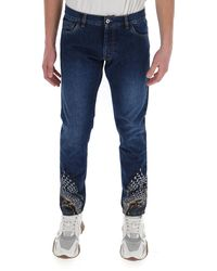 Marcelo Burlon Wings Printed Jeans - Blue
