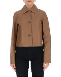 Loewe Button-up Leather Jacket - Brown