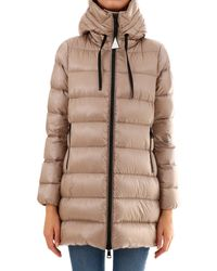 9ec6ae596 Moncler Leather Taleve Hooded Quilted Down Coat in Gray - Lyst