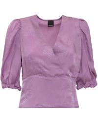 Pinko Floral Pattern Jacquard Cropped Blouse - Purple