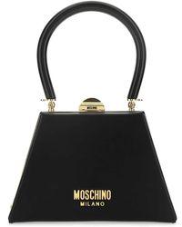 Moschino Logo Top Handle Mini Bag - Black