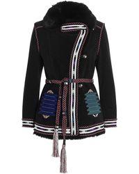 Etro Embroidered Tie Belt Jacket - Black