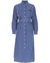 Prada Striped Shirt Dress - Blue