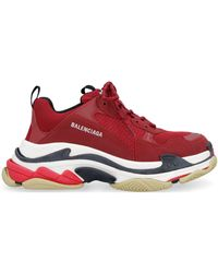 Balenciaga Triple S Trainers In Mesh And Nylon - Red