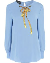 Boutique Moschino Bow Print Top - Blue