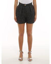 Elisabetta Franchi High Waisted Tweed Shorts - Black