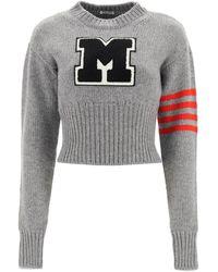 Miu Miu Drop Shoulder Cropped Sweater - Grey