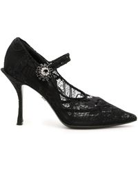 Dolce & Gabbana Mary Jane Lace Pumps - Black