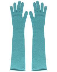 Alberta Ferretti Long Wool Gloves - Blue