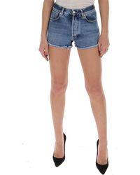 Givenchy High Waist Denim Shorts - Blue