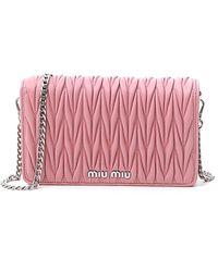 Miu Miu Matelassé Crossbody Bag - Pink