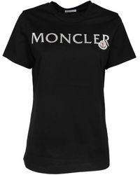 Moncler Logo Printed T-shirt - Black