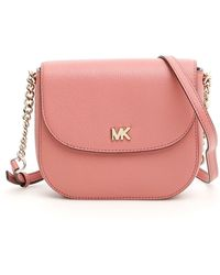 9d4ae13b87db MICHAEL Michael Kors Mott Pebbled Leather Dome Crossbody in Pink - Lyst