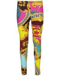 Versace All Over Print Leggings - Yellow