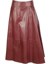 Bottega Veneta Paneled Leather Skirt - Red
