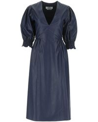 MSGM Navy Blue Synthetic Leather Dress Nd