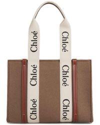 Chloé Woody Medium Tote Bag - Brown