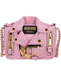 Moschino Leather Cross-body Messenger Shoulder Bag Biker - Pink