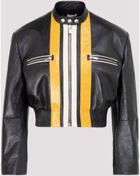 Miu Miu Stripe-detailed Biker Jacket - Black