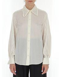 Chloé Stripe Panelled Collar Shirt - Natural