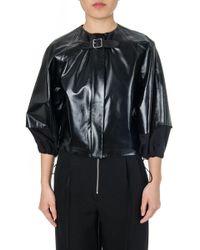 Céline - Collarless Elasticated Leather Jacket - Lyst