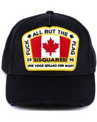 DSquared² Flag Patch Baseball Cap - Black