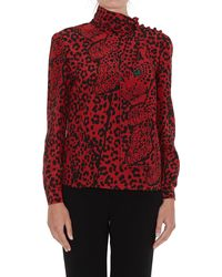 RED Valentino Pussy Bow Detailed Animal Print Blouse - Red