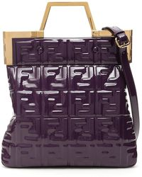 Fendi Ff Logo Embossed Shopper Tote Bag - Purple