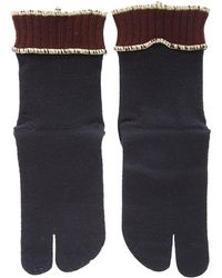 Maison Margiela 4-stitches Contrasting Trim Knitted Gloves - Blue