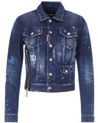 DSquared² Distressed Denim Jacket - Blue