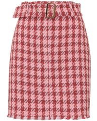 Pinko Houndstooth Belted Skirt - Pink