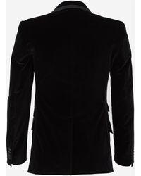 Dolce & Gabbana Velvet Single Breasted Blazer - Black