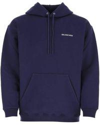Balenciaga Logo Print Hoodie - Blue