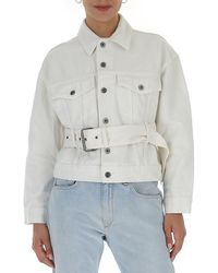 Proenza Schouler Pswl Belted Denim Jacket - White
