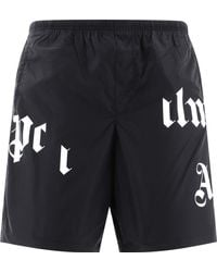 Palm Angels Logo Print Swim Shorts - Black