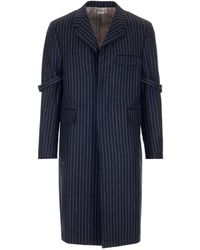 Thom Browne Striped Armband Chesterfield Overcoat - Blue