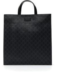 Gucci GG Monogram Print Tote Bag - Black