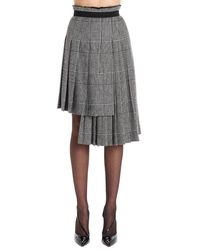 Ermanno Scervino Plaid Asymmetric Pleated Skirt - Gray