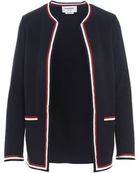 Thom Browne Open Front Ribbed Rwb-trim Cardigan - Blue