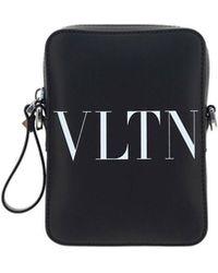 Valentino Vltn Printed Crossbody Bag - Black