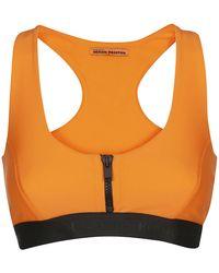 Heron Preston Front Zip Logo Sports Bra - Orange