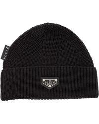 Philipp Plein Iconic Logo Patch Beanie - Black