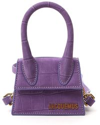 Jacquemus Le Grand Chiquito Crocodile-embossed Leather Top Handle Bag - Purple
