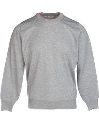 Brunello Cucinelli Cotton Knitted Sweater - Grey